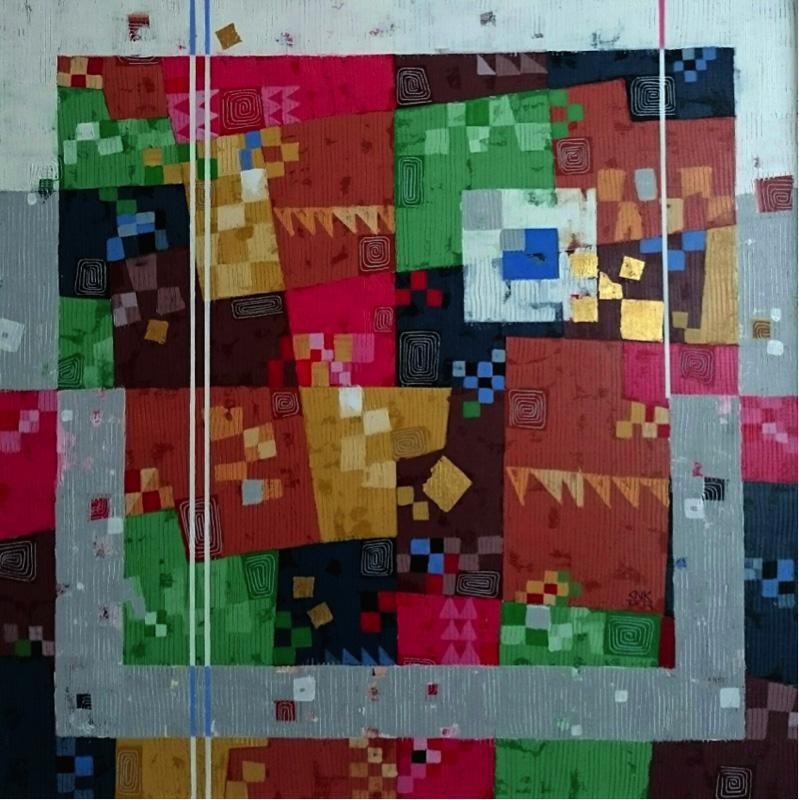 Chan Nyein Kyaw, Colour of space, acrilico su tela, 92x92 cm, 2015