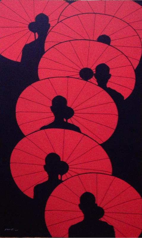 Saw Moe Zaw, Under the morning light, acrilico su tela, 92 x 152 cm., 2016