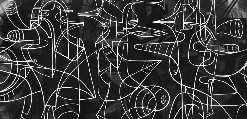 WK_Doze Green_Nanomite Mind Parasites (detail), mixed media on canvas, 2016
